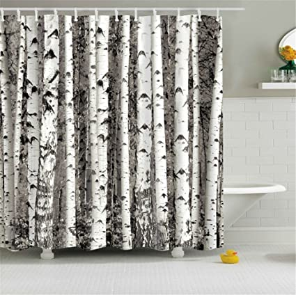 Home Decor White Birch Trees Trunks Custom Bathroom Shower Curtain Art Prints Waterproof Polyester