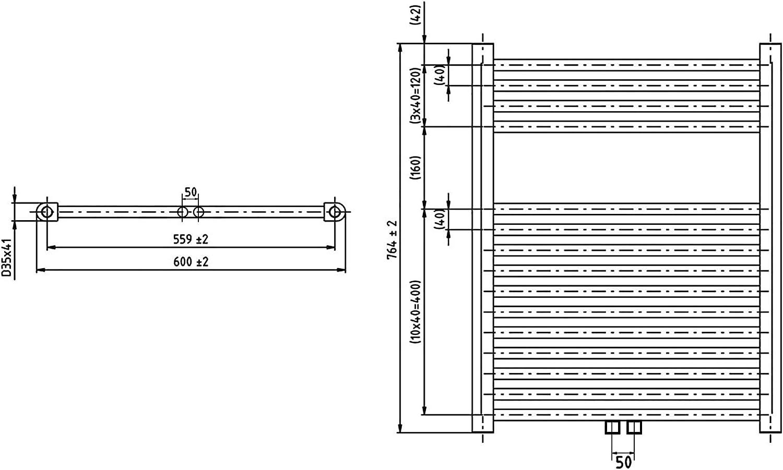 420 Watt nach EN442 Heizk/örper Badheizk/örper gerade 1160 x 600 chrom mit Mittelanschluss 50 mm