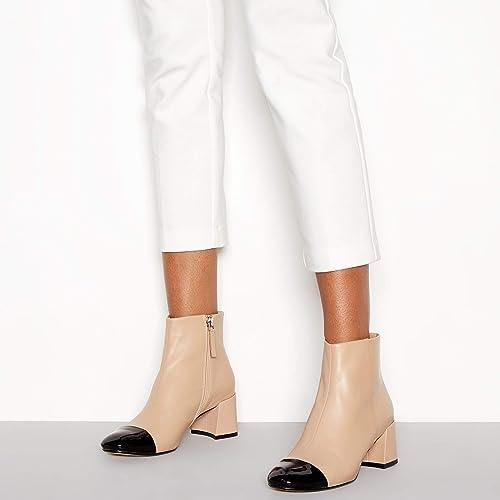 000a0bf8c36 J by Jasper Conran Camel Leather Toe Cap  Joe  Mid Block Heel Ankle Boots