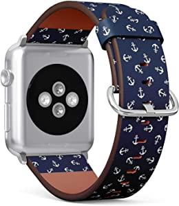 Compatible with Apple Watch 38mm & 40mm (Series 5, 4, 3, 2, 1) Leather Watch Wrist Band Strap Bracelet with Stainless Steel Clasp and Adapters (Anchors)