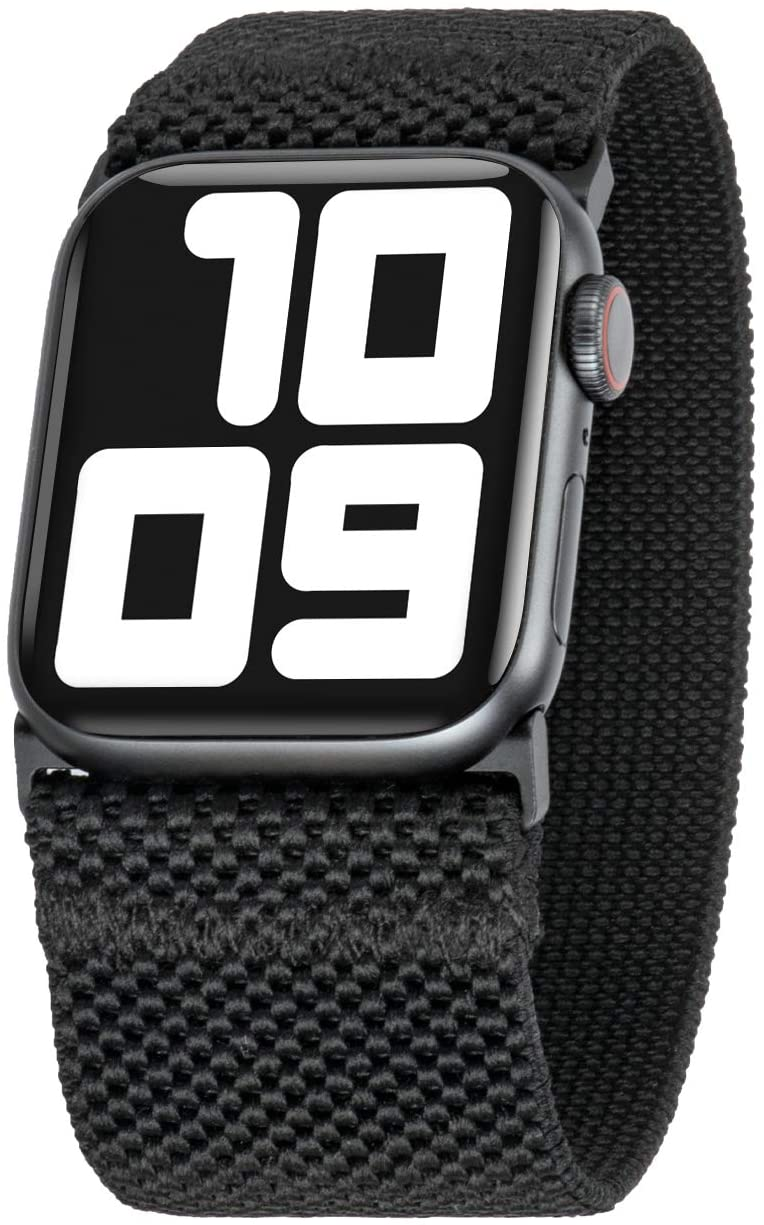Tefeca Ultra Wide Patterned Elastic Compatible/Replacement Band for Apple Watch (Black, XL fits Wrist Size : 7.5-8.0 inch, 42/44mm)