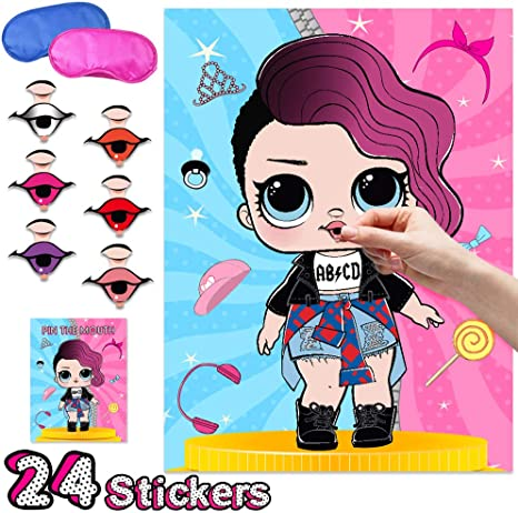 OMG LOL Party Games Hot Pink Surprise Birthday Party Supplies Party Decorations for Girls Birthday Party Family Games Class Game 24 Stickers of Eyes and Lips