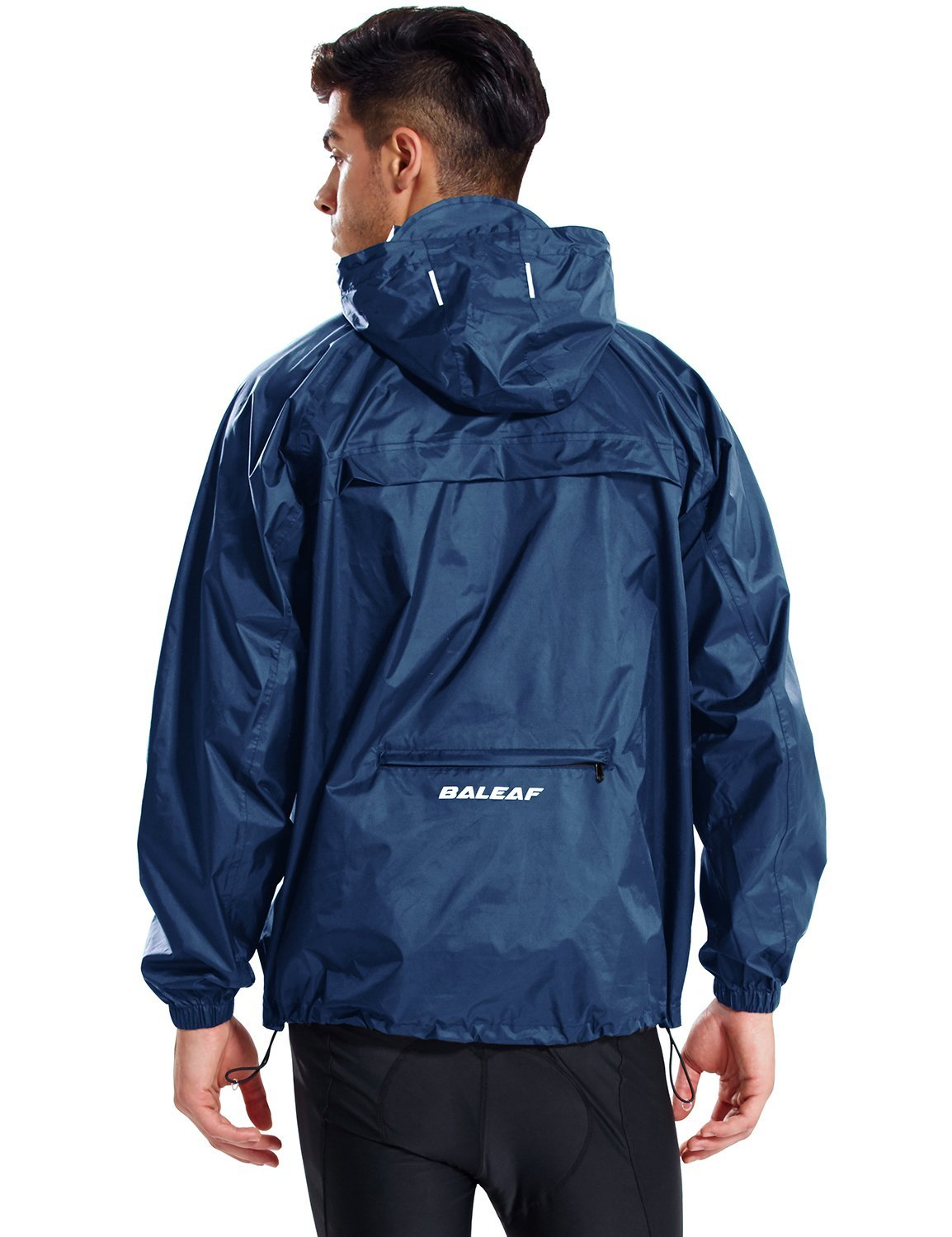 Baleaf Unisex Rain Jacket Packable Outdoor Waterproof Hooded Pullover Raincoat Poncho Navy Size L by Baleaf