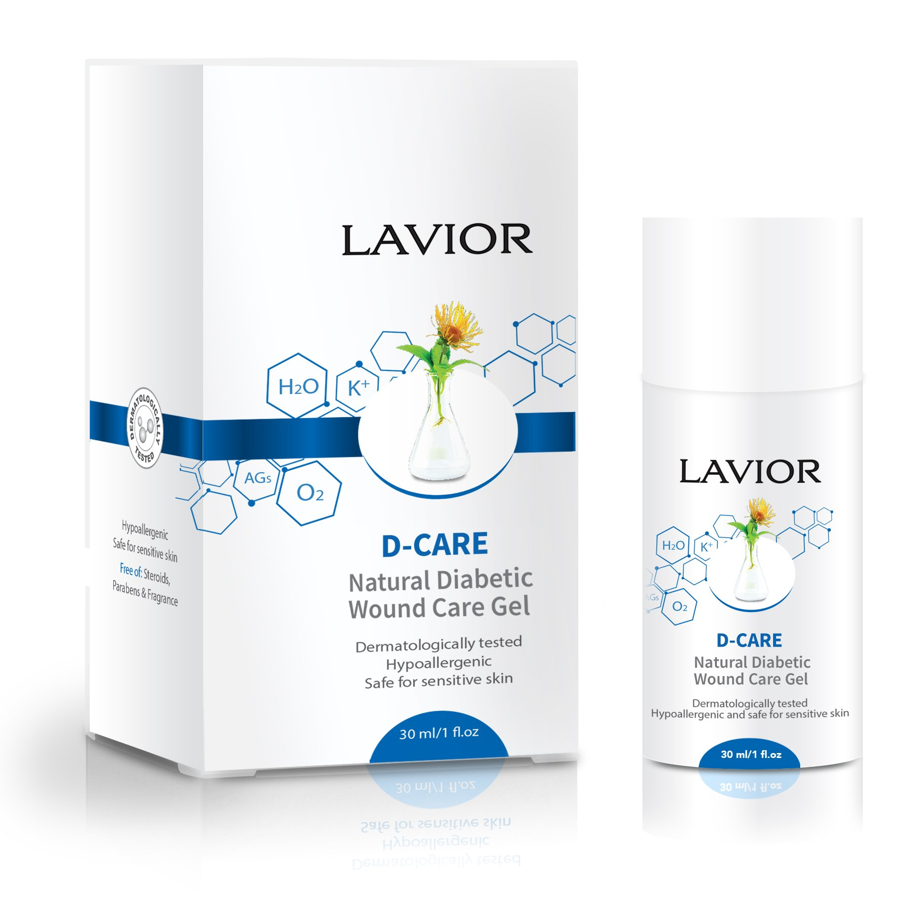 LAVIOR D-Care Natural Diabetic Wound Care Gel - Anti-Inflammatory & Antibacterial - Clinically Proven, Podiatrist Recommended, Steroid Free