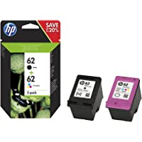 HP N9J71AE 62 Original Ink Cartridges Black and Tri-Colour (Cyan, Magenta, Yellow), Pack of 2