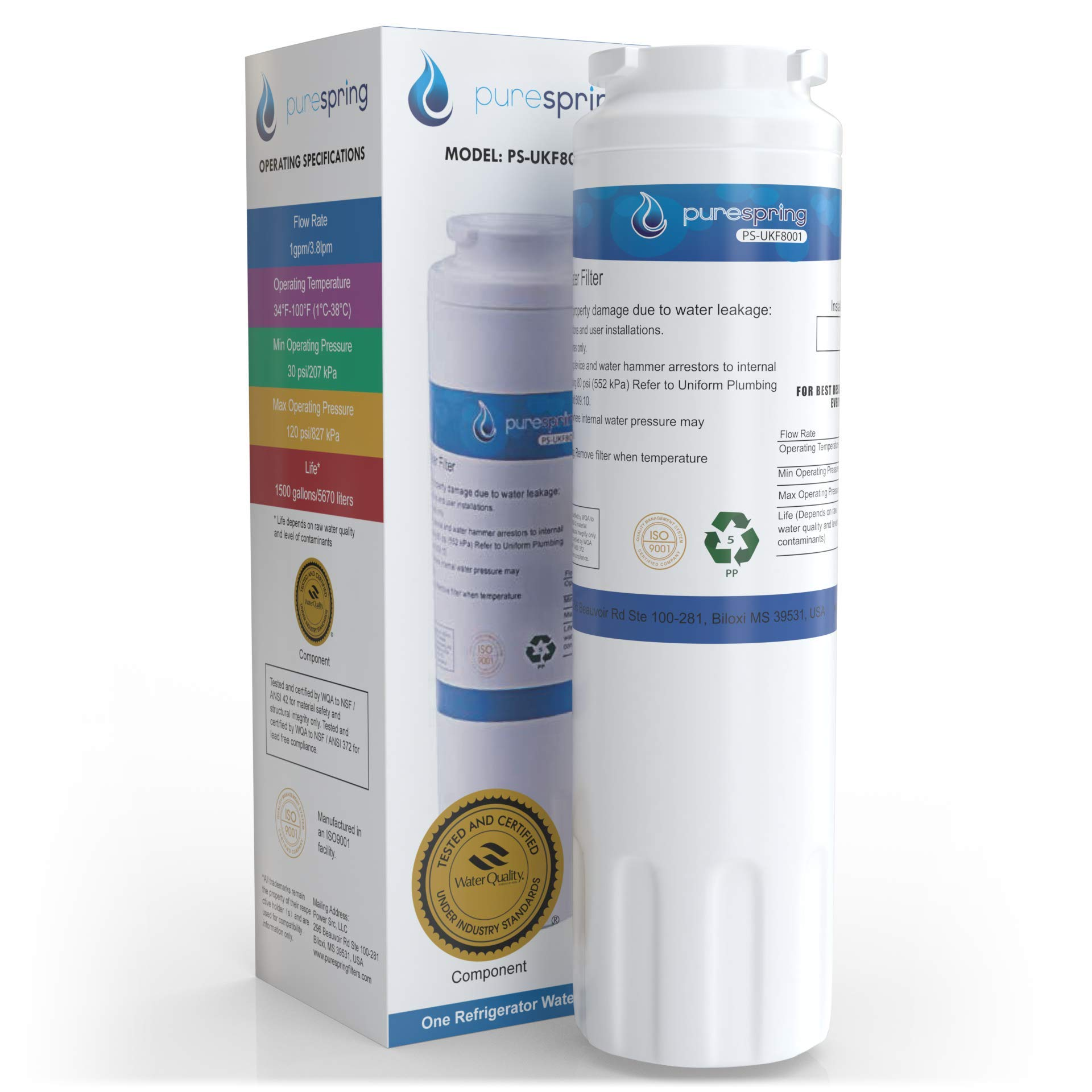 PureSpring Maytag-UKF8001 Compatible Refrigerator Water-Filter - Replaces Maytag UKF8001, EDR4RXD1, PUR Filter 4, Kenmore 46-9005, Viking RWFFR and some Whirlpool, KitchenAid, Bosch models (1 Pack)
