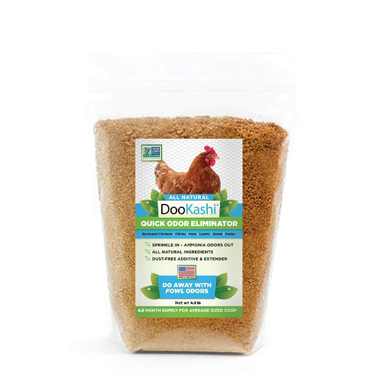 DooKashi for Poultry Chicken Coop Natural Odor Eliminator & Compost Accelerator - Probiotic Powered Bird Poop Remover, Ammonia Cleaner and Pet Odor Neutralizer for All Types of Chicken Bedding, 4.5lb by DooKashi