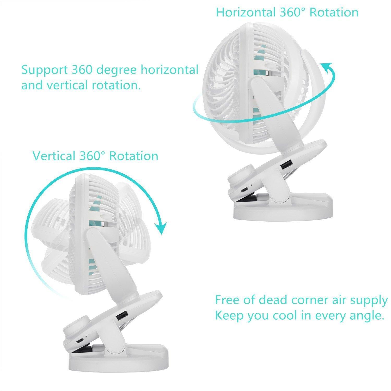 FITFIRST 5000mAh Mini USB stufenlos schalten Tischventilator wiederaufladbar Ventilator zum Anklipsen Clip Fan mit 360/°drehbare leise f/ür Schlafzimmer B/üro Kinderwagen Auto Camping Wei/ß