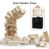 Lavievert Giant Toppling Timbers Wooden Blocks Game Stacking Blocks Stacking Tower For a Fun Outdoor, Lawn, Yard Game - Great for Adults & Kids - 54 Pieces