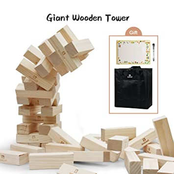 Lavievert Giant Toppling Timbers Wooden Blocks Game Stacking Blocks Unique Lawn Game With Wooden Blocks