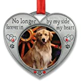 Pet Memorial Picture Ornament - No Longer By My Side - Heart Shaped Photo Frame Ornament - Loss of a Pet - Pet Sympathy