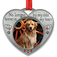 BANBERRY DESIGNS Pet Memorial Picture Ornament - No Longer by My Side - Heart…