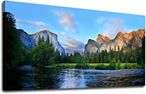 """Canvas Wall Art Panorama of Yosemite Valley Painting Canvas Artwork Lake Mountain National Park Nature Pictures Framed Wall Art for Living Room Bedroom Office Wall Decor Home Decoration 20"""" x 40"""""""