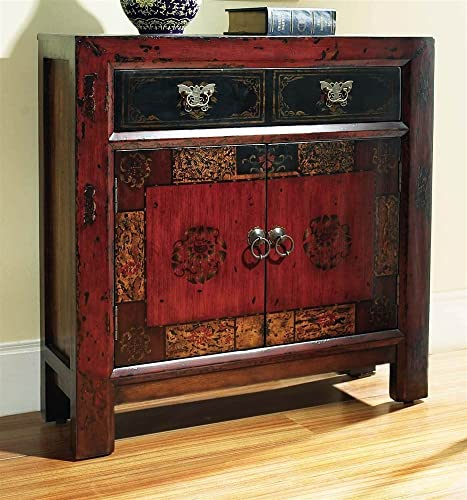 Hooker Furniture Asian Two-Door One-Drawer Hall Chest, Rich Gesso Finish with Subtle Gold Highlights