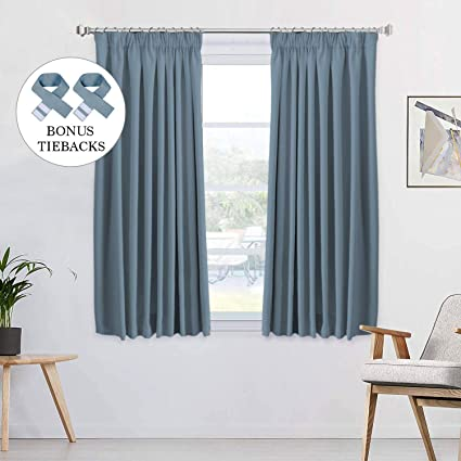 H Versailtex 2 Panels Citadel Blackout Curtains Thermal Insulated Pencil  Pleat Short Curtain Drapes Room Darkening & Energy Saving for  Bedroom/Kitchen