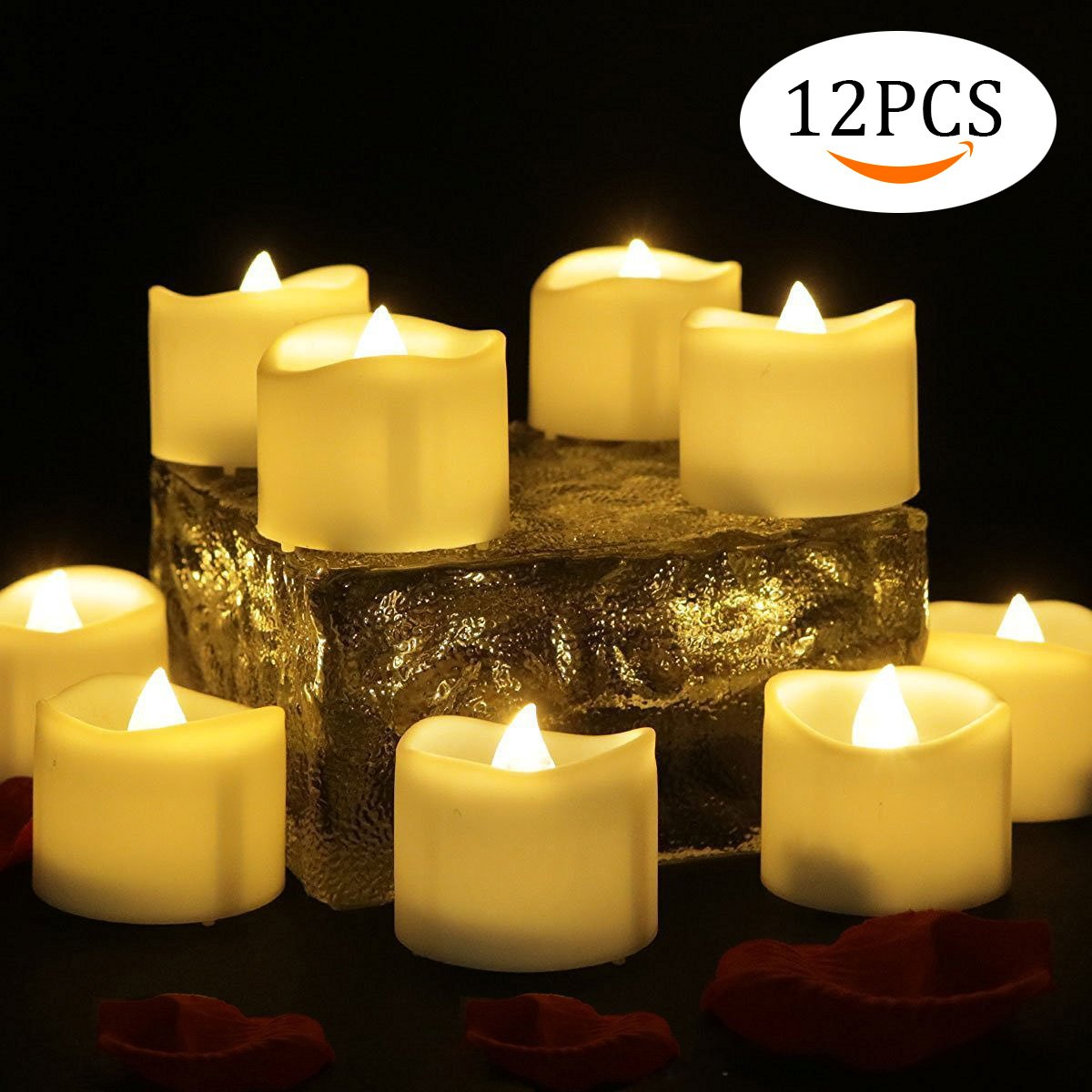 12 PCS Velas LED Luz de la vela del LED Luces Led Amarillo Cálido con Forma de Vela Para la boda, cumpleaños, celebración, Día de San Valentín, fiesta, Halloween, Navidad, decoración del hogar, etc. Omont