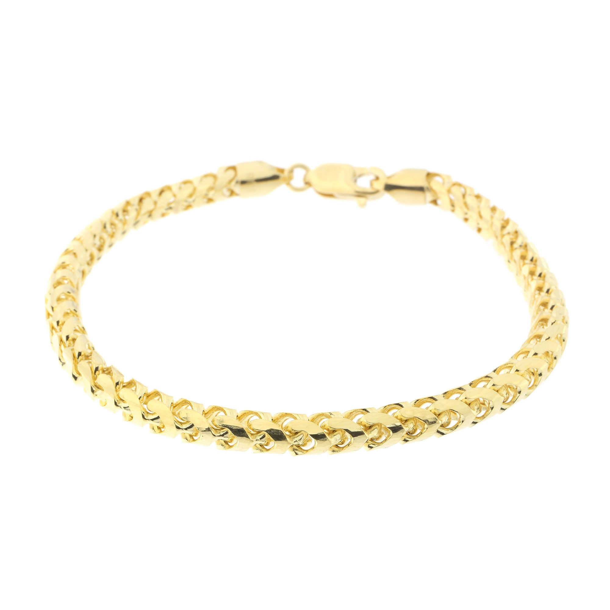 Men's 14k Yellow Gold 5mm Diamond Cut Round Franco Chain Bracelet, 8.75''
