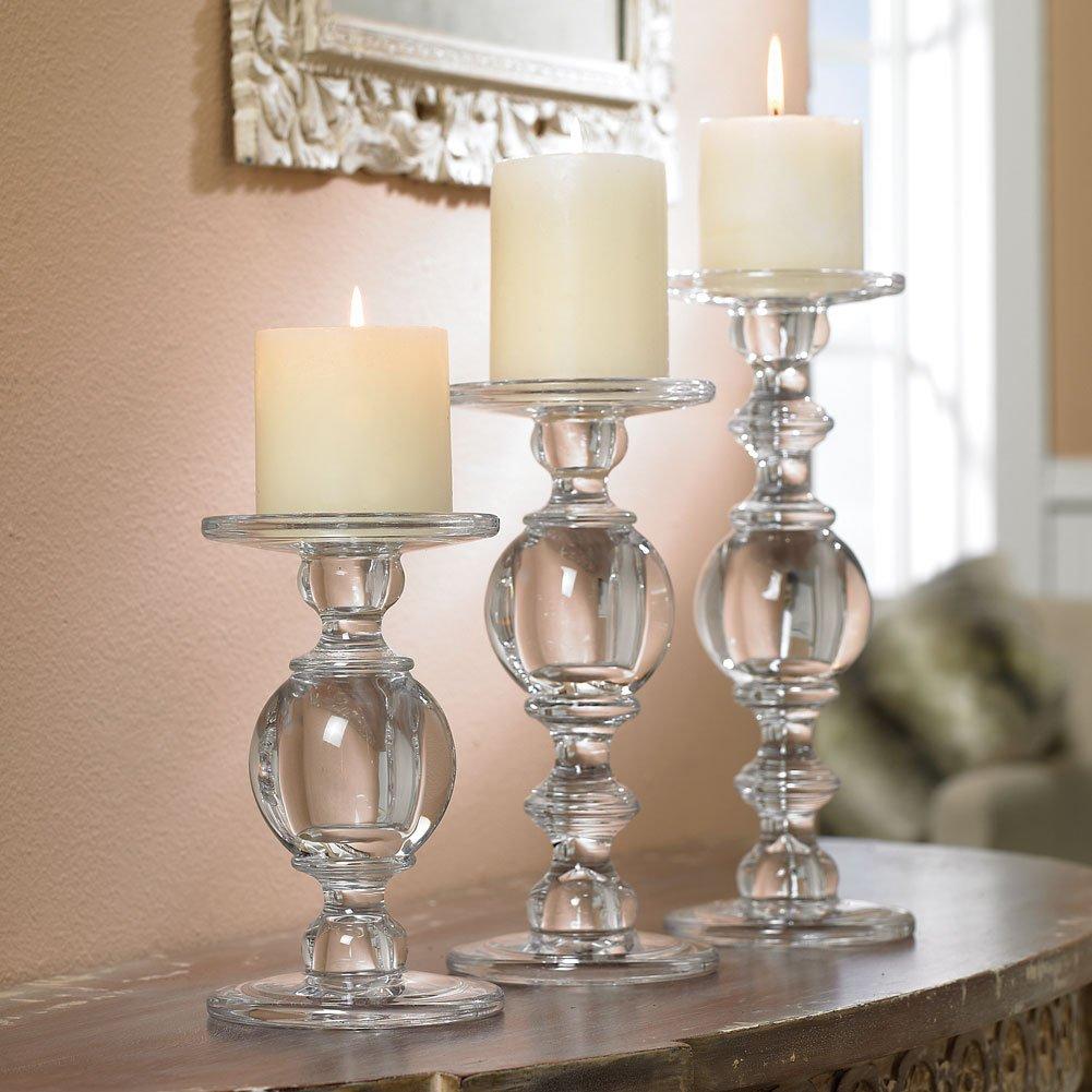 Candlestick Set - Solid Glass Baluster Pillar Candlesticks - Set Of 3