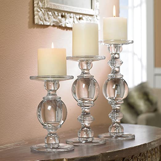 Christmas Tablescape Decor - Awesome trio of solid glass baluster pillar candlesticks holders