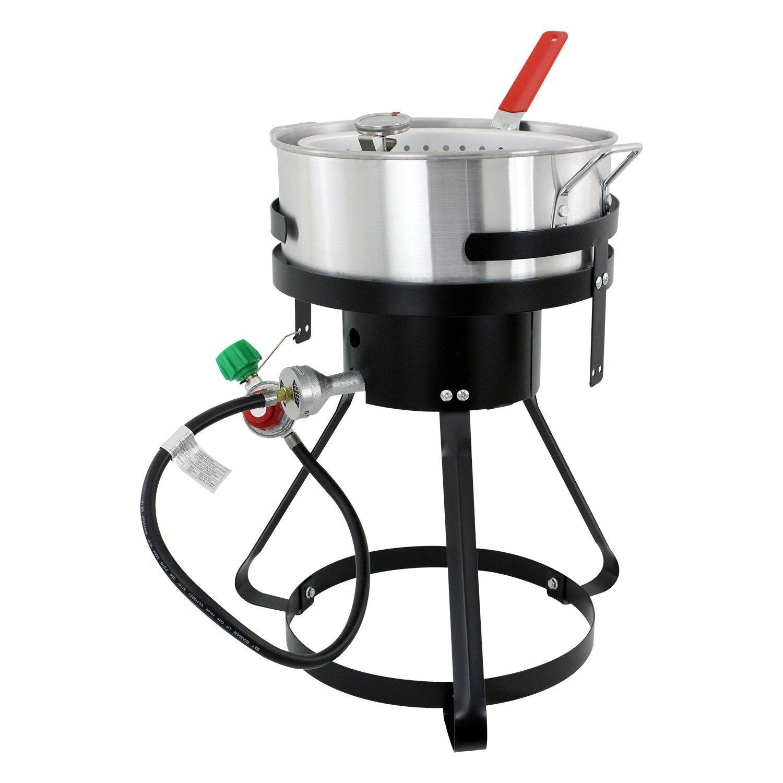 Turkey deep fryer outdoor cooker 30 qt aluminum steamer for Fish fryer propane