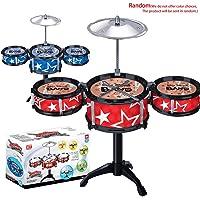 Kongqiabona simulación Juguete Musical Instrumento 3 Tambores Jazz batería con Baquetas Musical Estante Juguete Educativo para niños