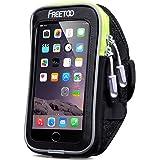 FREETOO スポーツアームバンド ランニングアームバンドケース アームポーチ 防汗 薄型クリアスクリーン タッチ操作 イヤホーンコード固定 カード入れ付 調節可能 iPhone6/6s/6s plus、Xperiaなど 5.5インチまでのスマホに対応