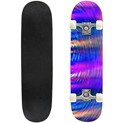 Classic Concave Skateboard Abstract Blurred Shapes Vibrant Colored Psychedelic XXL Background Longboard Maple Deck Extreme Sports and Outdoors Double Kick Trick for Beginners and Professionals : Sports & Outdoors