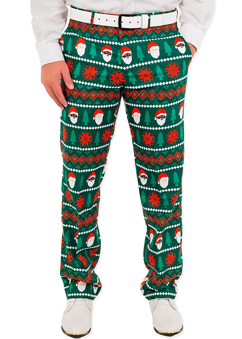 Festified Men's Holiday Santa Equality Christmas Suit Pants in Green by