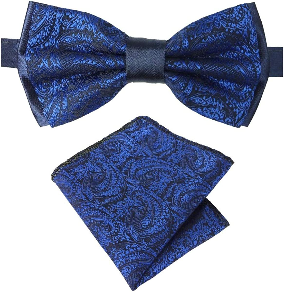 Mens Swirls Paisley Dickie Bow Tie and Hanky Sets for Formal and Special Occasion events