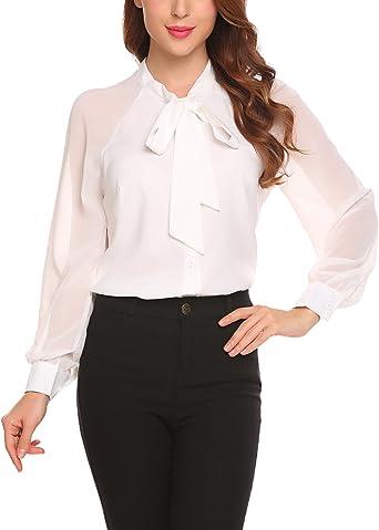 Mujer Camisas Fiesta Verano Manga Larga Casual Blusas con Pajarita Blancas: Amazon.es: Ropa y accesorios