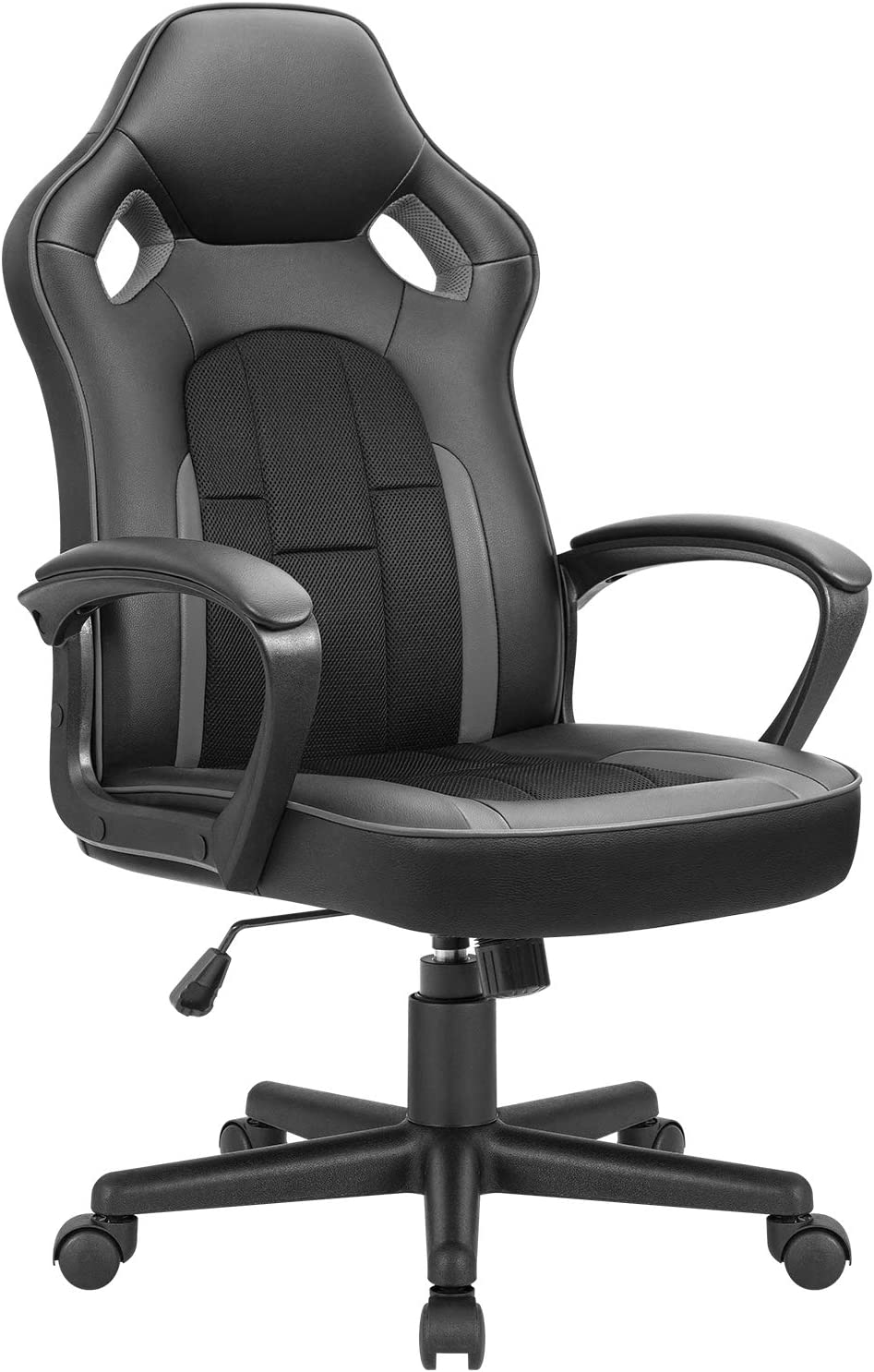 JUMMICO Gaming Chair Ergonomic Executive Office Desk Chair High Back Leather Swivel Computer Racing Chair with Lumbar Support (Grey)