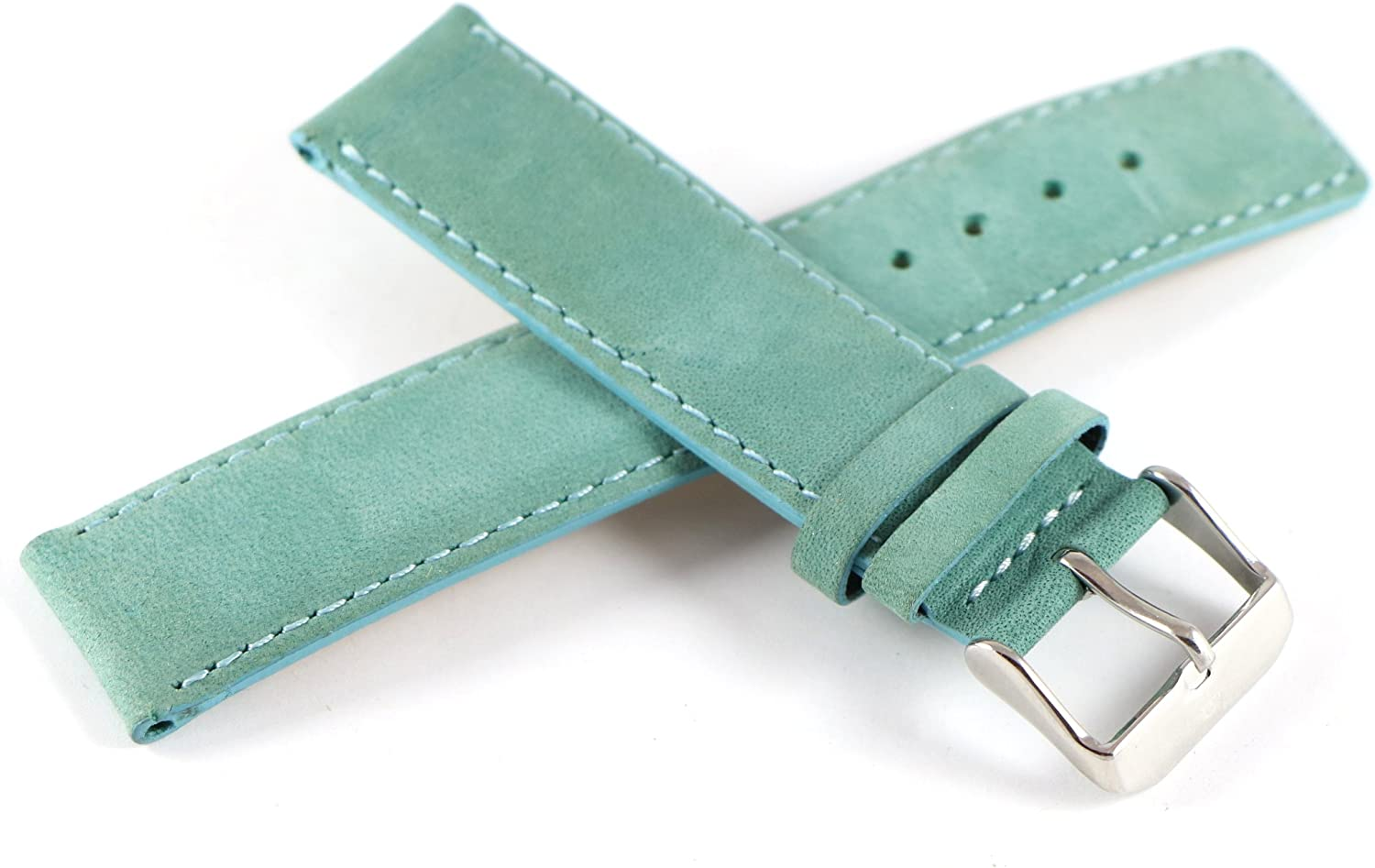 "Lucien Piccard 20MM Genuine Suede Leather Watch Strap 7.5"" Light Teal. Stainless Silver LP Buckle."