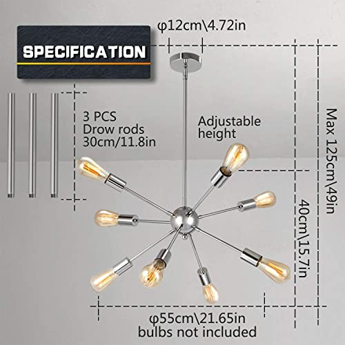 SUNVP Sputnik Chandelier Chrome Modern Pendant Lighting Silver Ceiling Light Fixture with 8 E26 Lamp Socket for Living Room Bedroom Kitchen Hallway Bar