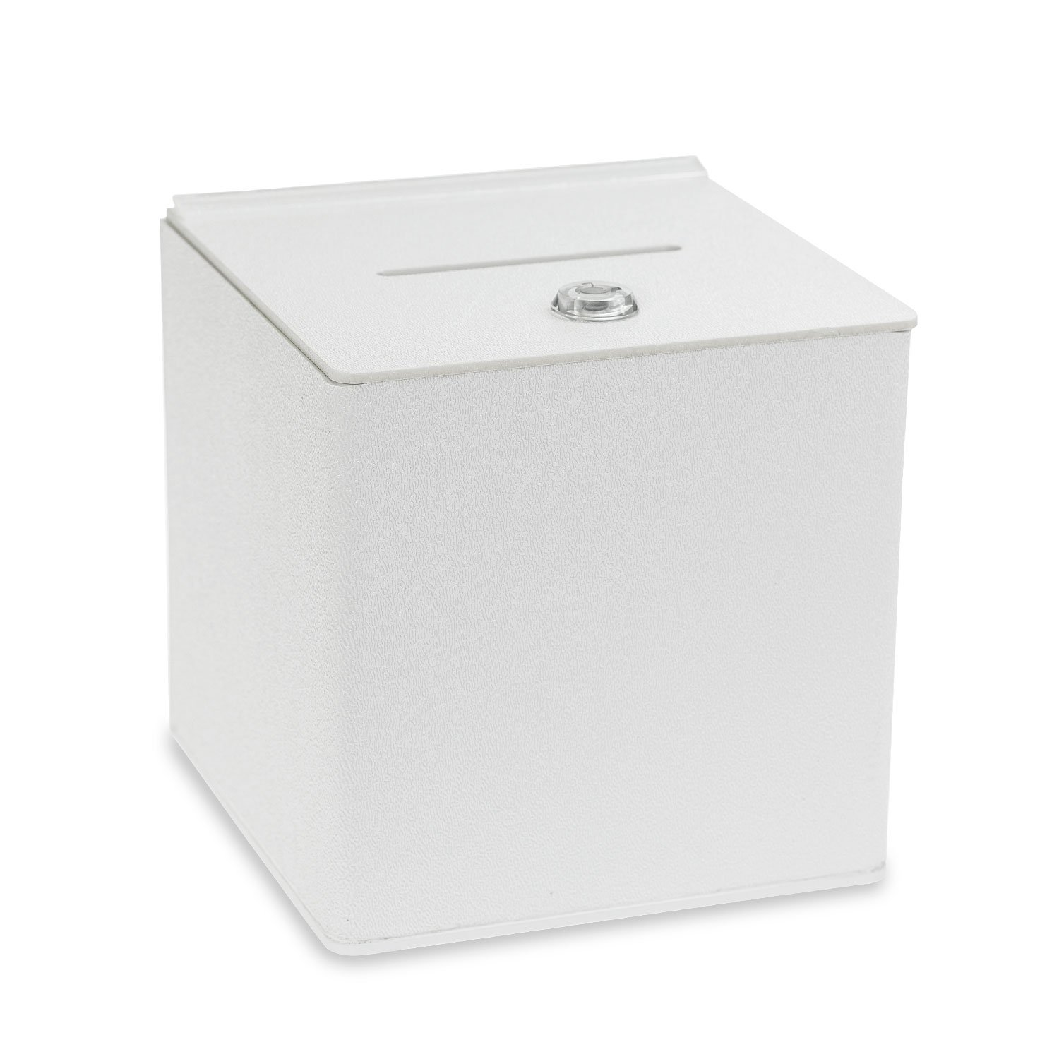 Source One White Cube Donation Box With Cam Lock Suggestion Registration Raffle Bin … (Large 10 Inch)