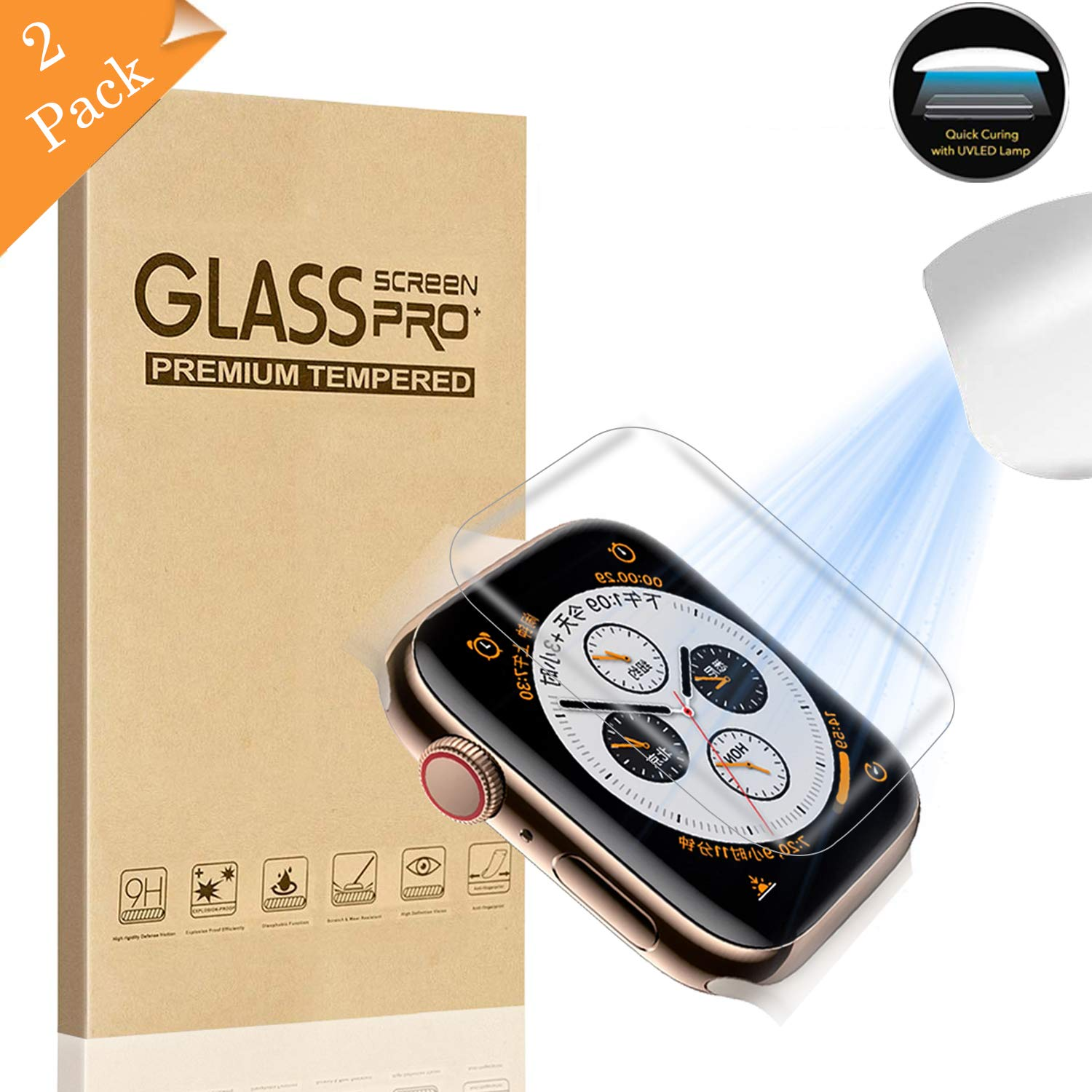 【2 Pack】 Fotbor Compatible for Apple Watch Series 4 44mm Screen Protector  Tempered Glass,[Liquid Dispersion Tech] 3D Curved Full Coverage Full