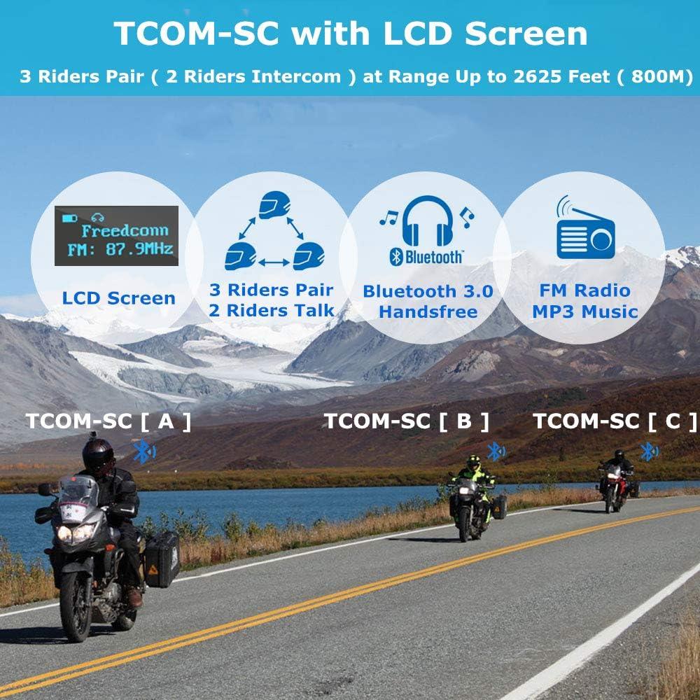 Helmet Communication Systems FreedConn TCOM-SC Motorcycle Helmet Bluetooth Headset Intercom LCD Screen//FM Radio//Handsfree// 800M// 2-3Riders Pairing