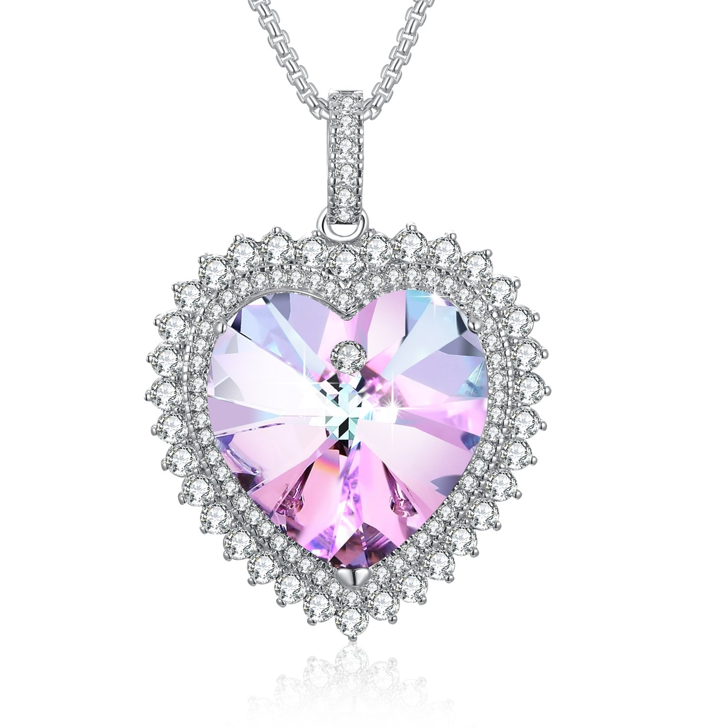"""Deeply Love "" Heart Necklace Birthstone Heart Shape Necklace Plato H Swarovski Elements Crystal Necklace Mother's Day Gifts Birthday Gifts Foe Her"