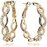 Gemini Women's 18K Filled Crystal Round Hoop Pierced Earrings for Women Valentine's Day Gifts Gift Idea Gm045Rg