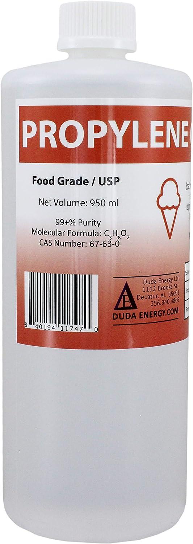 Duda Energy pg950 1 L Bottle/1 Quart Propylene Glycol Food Grade USP 99.5+% Pure Concentration with Child Safety Cap