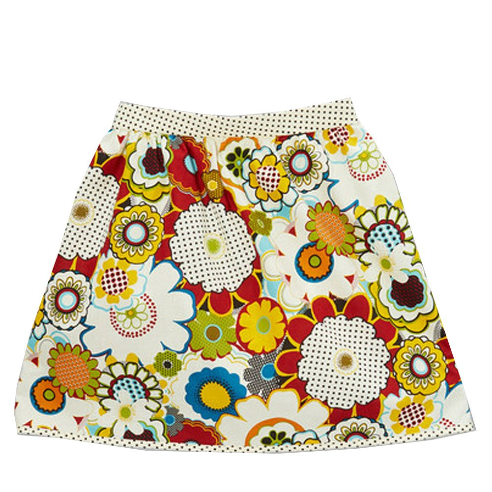 Little Miss Fashion Big Girls Multi Color Floral Polka Dot Mixed Pattern Cotton Skirt 10