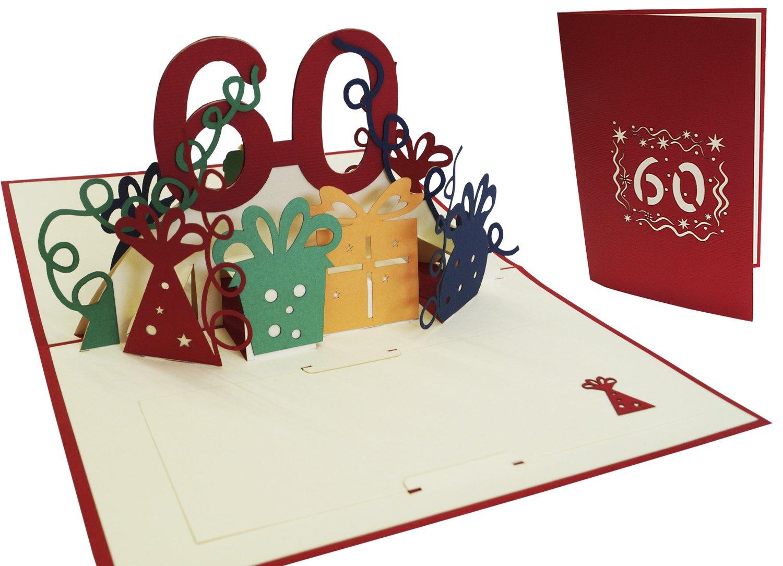 LIN Pop Up Biglietti di auguri zum 60. gebur Tag, biglietti di compleanno biglietti di auguri Biglietti di auguri di compleanno LIN ArtDesign 22