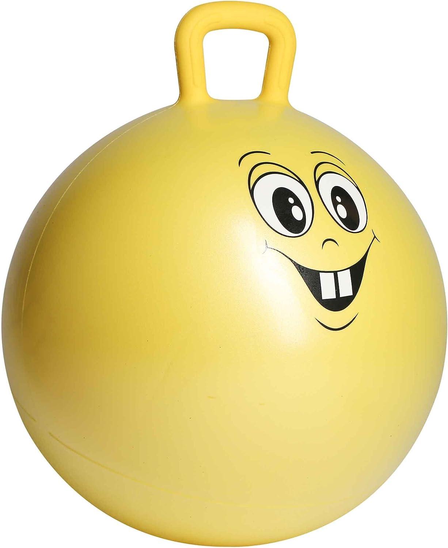 Ultrasport Pelota saltarina, de goma, de juego, robusto balón para niños a partir de 3 años, con asa y diseño, cara graciosa, pelota de goma, pelota de juego, interior y exterior