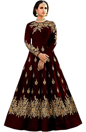 78dcf87acf Shree Impex Women's Embroidered Taffeta Silk Semi stitched Anarkali Gown  (Dark Maroon; Free size): Amazon.in: Clothing & Accessories