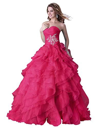 GRACE KARIN Women's Ball Gown Ruffle Crystal Organza Long Formal Prom Dresses