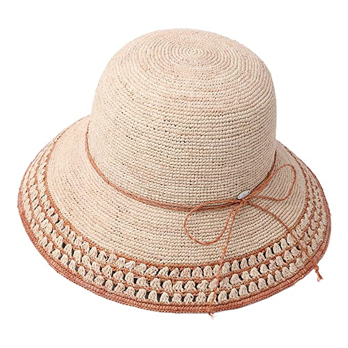 b6bc7f6af9543 Image Unavailable. Image not available for. Color  Raffia Straw Sun Hat  Fedora for Women Summer Beach Accessories Wide ...
