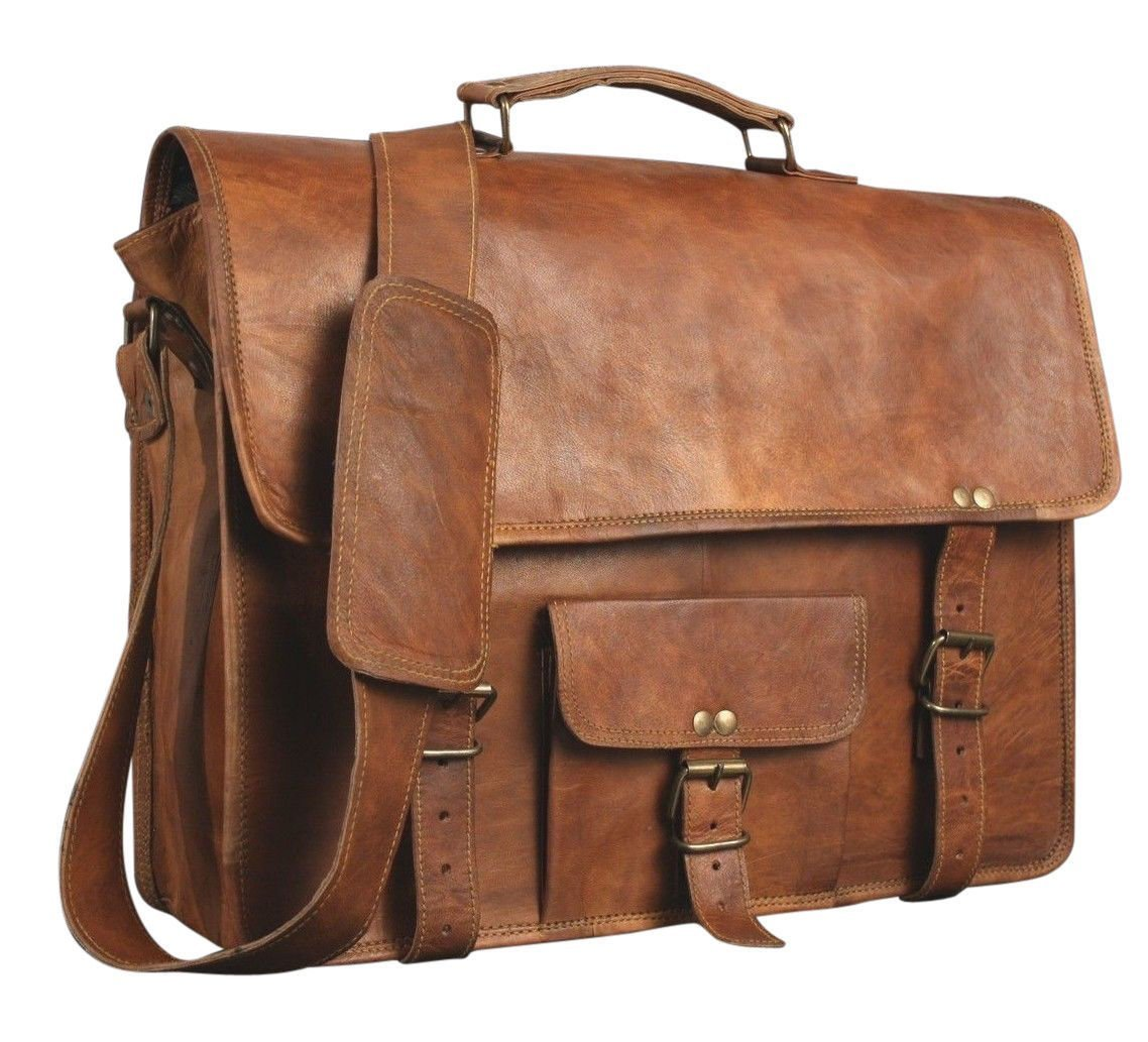 SKH 15-Inch Touch Pocket Leather Messenger Laptop Case Satchel (Brown)