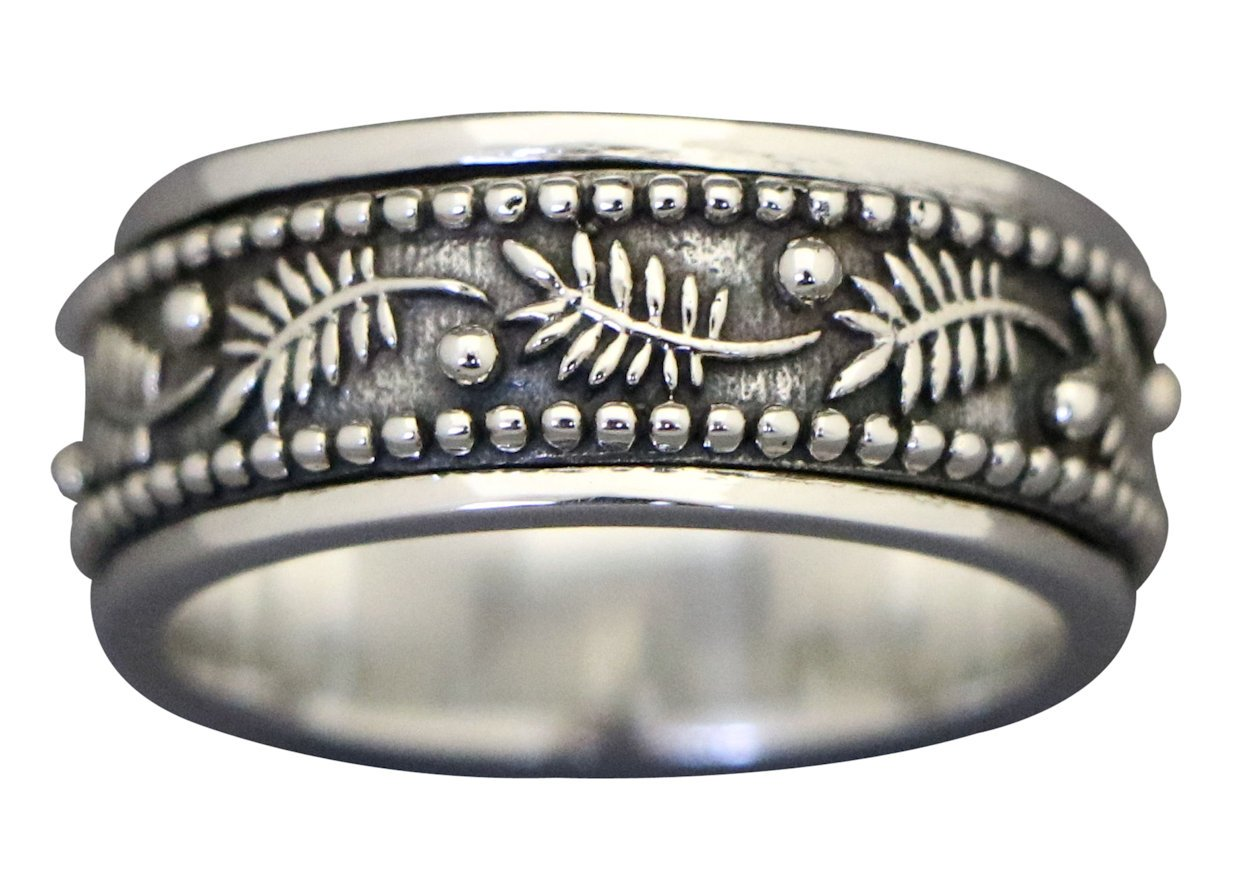 Energy Stone PALM LEAF Meditation Spinning Ring in Sterling Silver Designed by Viola So (Style# US42) (10) by Energy Stone (Image #3)
