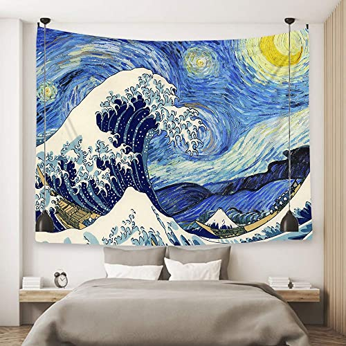 Ofat Home Wall Hanging Van Gogh Art Tapestry Starry Night and Great Wave Fuji Mountain Japanese Artistic Combination Oil Painting, Fabric Blue Tapestry for Home Bath Decor 59 x78.7