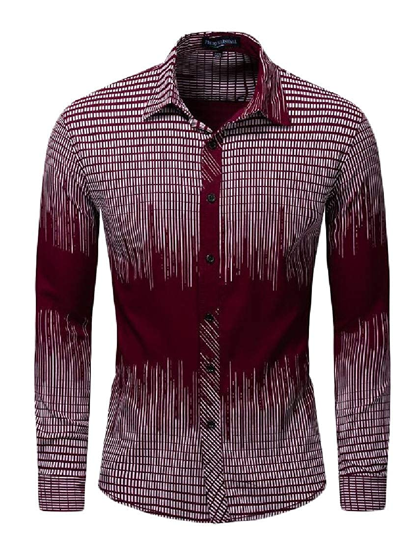 Cromoncent Mens Lapel Neck Striped Ombre Long Sleeve Loose Curved Hem Button Down Shirts
