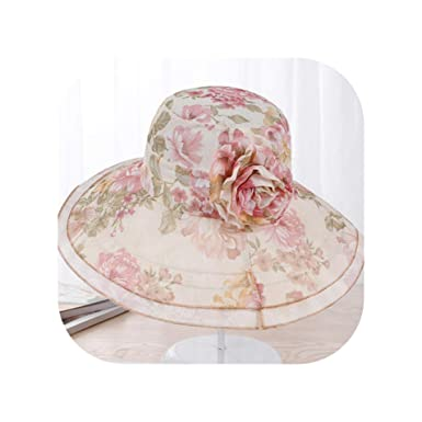 1a0118e4cfb2b Women Summer Wide Brim Foldable Sun Hat Elegant Flower Cotton Anti-UV Beach  Outdoor Fashion